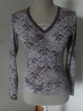 Tshirt stretch imprimé tons parme Caroll , taille 38