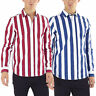 Mens Stripe Print Cotton Shirt Brave Soul Long Sleeve Collared NORRIS Fashion
