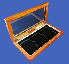 Wood Glass-top Display Box - 3 Three Certified PCGS NGC Premier Elite Coin Slabs