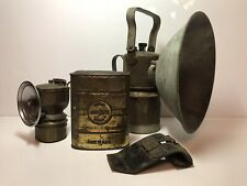 Vintage Justrite Carbide Brass Miners Lanterns & Can with Misc Parts Made in Usa