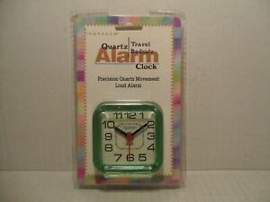 Vintage 90s Quartz Travel Bedside Alarm Clock INGRAHAM green Clear Plastic Deco
