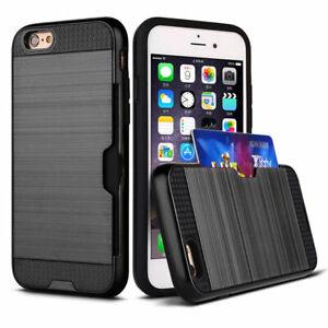 For iPhone 5 SE 6s 7 8 11 XR XS Hybrid Shockproof Bumper Armor Card Holder Case