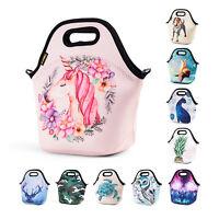 Cartoon Tote Insulated Lunch Bags for Women Kids Girl Unicorn Neoprene Lunch Bag