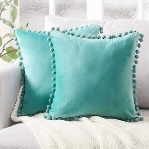 """2 Topfinel Top Finel Teal Green Soft Velvet Throw Pillow Covers Pom Poms 18""""X18"""""""