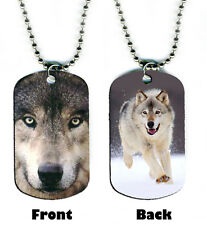 DOG TAG NECKLACE - Wolf 4 Gray Wolves spiritual native magical howling Grey
