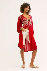 SAMPLE Free People Highline Skyline NWT Maxi Top Embroidered V-Neck Red XS DRESS