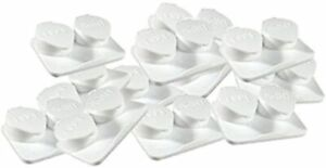 Contact Lenses Cases Flat Ribbed Extra Deep Well - White, 12 Pack