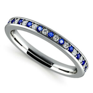 0.78 Ct Real Sapphire Gemstone Band Solid 950 Platinum Diamond Bands Size M O P