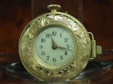 kleine 14kt 585 Gold Open Face Taschenuhr / Anhängeuhr / Durchmesser 28,6mm