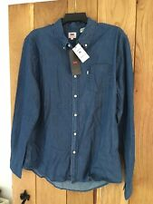 Mens Levis Levi Cotton Denim Shirt Blue Size Extra Large XL NEW
