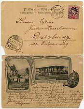 GOLD COAST 1903 GERMAN PPC KWITTA + B27 NUMERAL to DUISBURG...KE7 1d