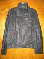 Eileen Fisher XL solid black resin treated cotton biker coat shirt top jacket