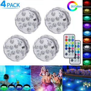 4X Hot Tub Underwater Floating Bath Lights Colorful LED RGB Lazy Spa Disco Lamp
