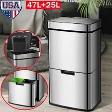 Intelligent Dual Layer 3 Compartment Stainless Steel Recycle Trash Can 47 L+25 L