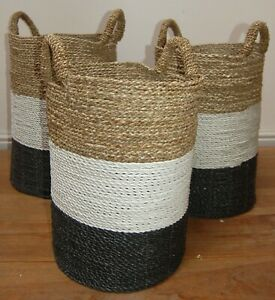 Set Of 3 Laundry/ Storage Rattan And Sea Grass Baskets  - 50cmx39cm - largest