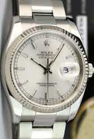 ROLEX 36mm 18kt White Gold & Stainless Datejust Silver Index 116234 SANT BLANC