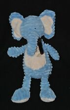Peluche doudou éléphant bleu BENGY beige feuille velours cotelés 35 cm  TTBE
