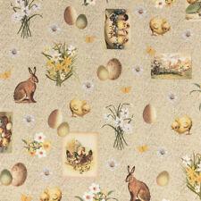 Baumwollstoff Dekostoff Digitaldruck Ostern Hase Küken Blumen natur gelb braun