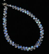 """Blue Fire Rainbow Moonstone 4.5mm Size Smooth Heart Shape Briolette Beads 10"""""""