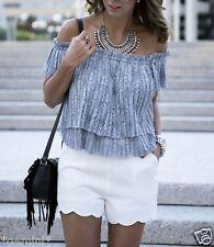 Zara size M 38 40 off schoulder lace top blouse plissé spitzentop chemisier dentelle