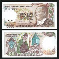 Turkey 5000 Lira 1985 (1970), UNC, P-197, Mevlana, Prefix B