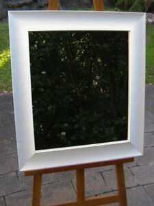 Beautiful Wall Mirror Pearlescent White Wooden Frame 68cm x 65cm