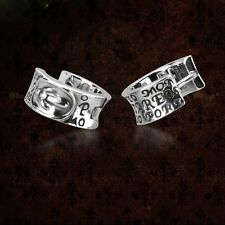 Charm Mens Jewelry Knights Solid 925 Sterling Silver Hoop Earrings BJ222