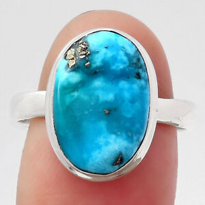 Rare Persian Turquoise With Pyrite 925 Sterling Silver Ring s.8.5 Jewelry 9975