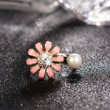 18K WHITE GOLD MADE WITH SWAROVSKI CRYSTAL PEARL OPEN RING SPINNING PINK FLOWER