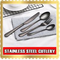 4 8 16 32 64 PCs Stainless Steel Black Cutlery Dinner Tea Set Knife Fork Spoon