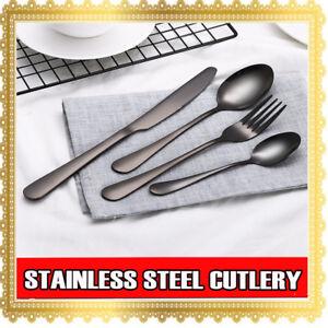 4 8 16 32 64 PCs Stainless Steel Black Cutlery Dinner Tea Set Knife Fork Spoon