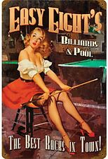 Easy Eights Billiards & Pool Pin Up  steel sign   440mm x 290mm   (pst)