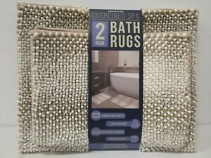 Town & Country Living Cushioned Spa Bath Rugs Beige/White 2 Pack