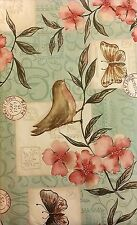 Elrene Birds and Butterflies Among Flowers Vinyl Flannel Backed Tablecloth 52x90