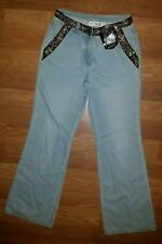 """JEANOLOGY COLLECTION Womens Size 8 Jeans Sequin Trim 32"""" Inseam NWT"""
