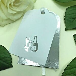 6 Handmade Silver Champagne Double Gift Tags Wedding Engagement Congratulations