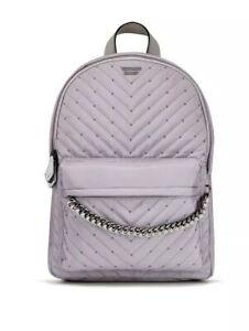 Victoria's Secret Large Full Size City Backpack Lavender Gray Studded V-Quilt