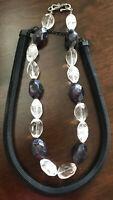 Wunderschönes Mode-Schmuck-Set 2tlg Perlenkette Schwarz Klar Flexi-Draht-Kollier