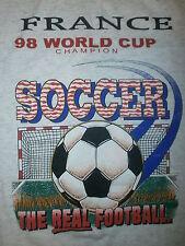 vtg 90s FRANCE 1998 WORLD CUP CHAMPIONS T SHIRT Soccer Real Futbol Gray Tee XL