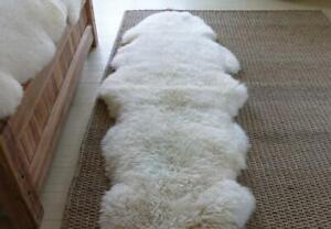 Genuine Sheepskin Rug Double Pelt Ivory White Sheepskin Throw Rug Fur, 2 x 6 ft