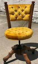 Vintage 1970 Retro Chic Tufted Yellow Upholstery Carved Walnut Wood Office Chair