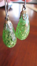 VINTAGE Sterling Silver 925 Large Teardrop Emerald Green Glass Dangle Earrings