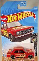2019 Hot Wheels #97 Nightburnerz 8/10 '71 DATSUN 510 Momo RED w/Black St8 Spoke