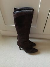 Principles Brown Suede Almond Toe Knee High Boots, Size 5, VGC