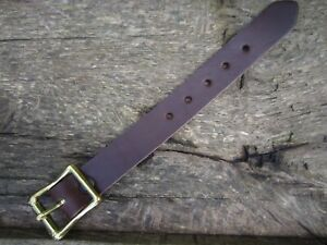 """UTILITY STRAP REAL LEATHER 19mm (3/4"""") wide  SOLID BRASS BUCKLE VARIOUS LENGTHS"""