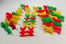 Farm animal toys sheep dogs red yellow green hard plastic goats pigs Lot of 42