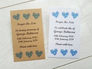 50 Personalised Forget Me Not Seed Packets Envelopes Funeral filled / unfilled
