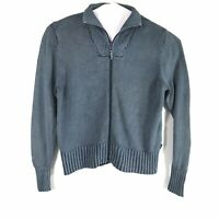 Vintage Woolrich Womens Large Blue Gray Zip Up Cardigan Sweater    E