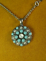 MARIANA GUARDIAN ANGEL SWAROVSKI CRYSTALS NECKLACE Turquoise Pearl Pendant SS PL
