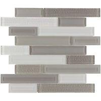 Modern Linear Grey White Glass Mosaic Tile Backsplash Kitchen Wall MTO0324